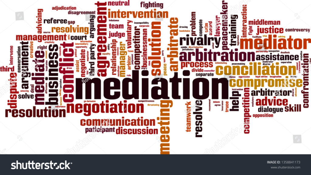 stock vector mediation word cloud concept collage made of words about mediation vector illustration 1358841173